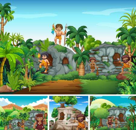 Cavemen living in stone house illustration