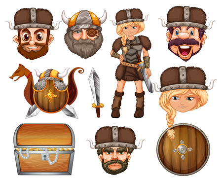 weapons: Viking heads and weapons illustration