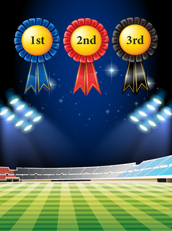 outdoor lights: Award winning tags and football field illustration