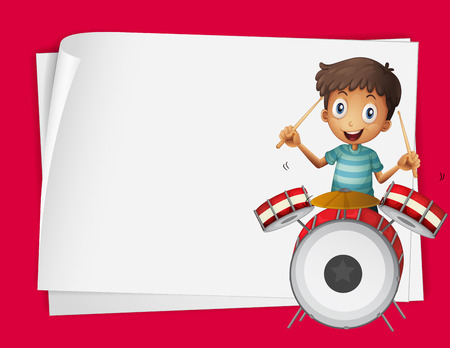 drumset: Paper design with boy playing drums illustration
