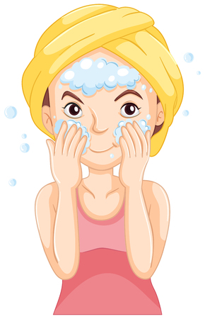 Woman washing face with foam illustration