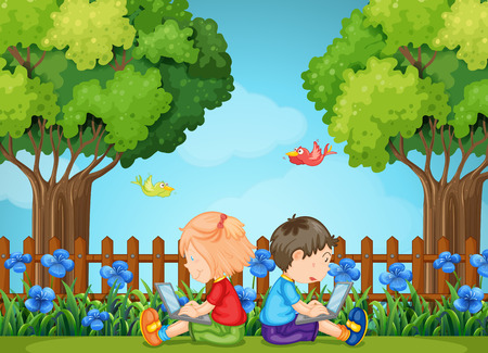 laptop outside: Boy and girl using computers in the park illustration