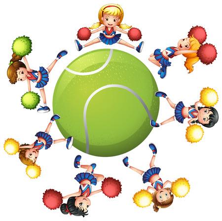 entertainment equipment: Cheerleaders dancing around tennis ball illustration