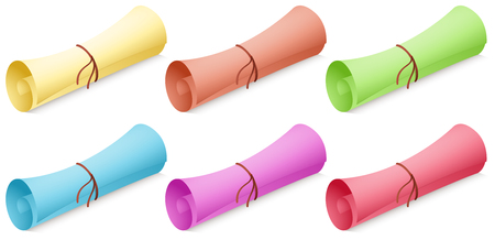 vintage document: Roll of paper in different colors illustration