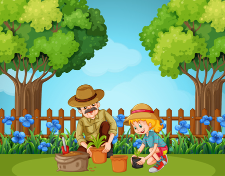 planting: Girl and grandfather planting in the garden illustration Illustration