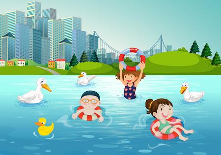 children swimming: Children swimming in the lake illustration