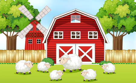 sheeps: Sheeps in the farm with red barns illustration