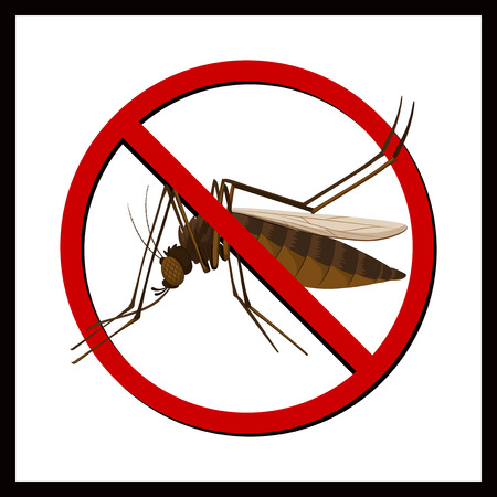 disease carrier: Sign of no mosquito illustration Illustration