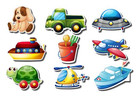 white sticker: Set of toys sticker on white illustration Illustration