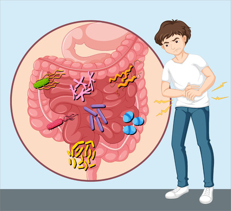 Man having food poisoning illustration Vectores