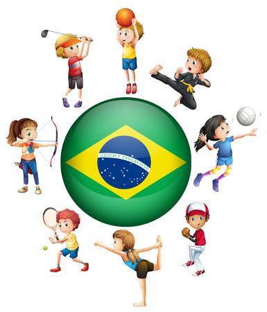 teen golf: Diferentes deportes en Brasil ilustraci�n Vectores