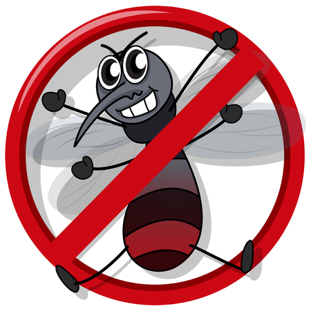 disease carrier: No mosquito sign on white illustration
