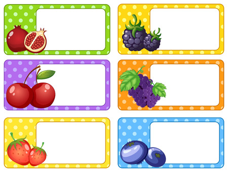 rasberry: Label design with fruits and berries illustration