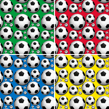 bouncing: Seamless soccer balls on colors background illustration