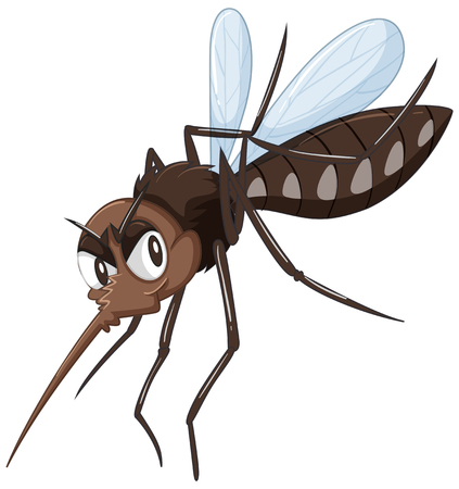 a disease carrier: Mosquito in brown color illustration