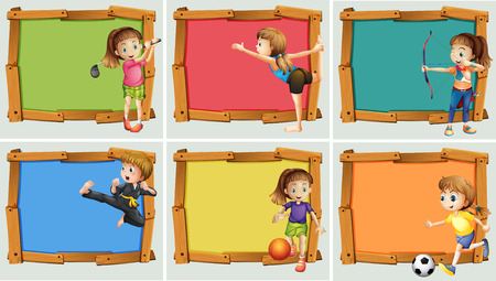 archer cartoon: Wooden frame design with may sports illustration