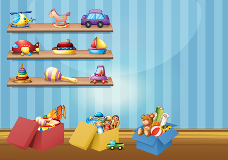 clipart: Muchos juguetes en los estantes y el suelo de la ilustración Vectores