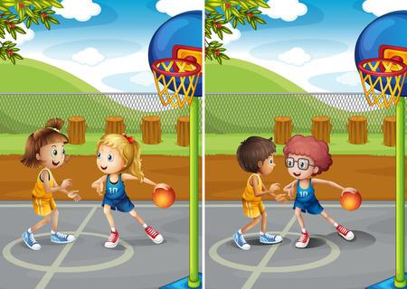 boys playing: Boys and girls playing basketball illustration