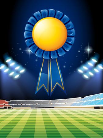 outdoor seating: Blue ribbon over the football field illustration Illustration