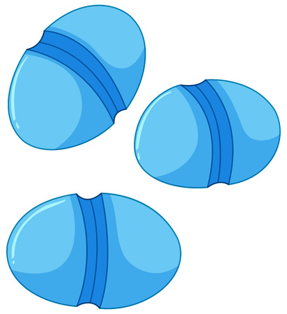 intestines: Blue round shaped bacteria in intestines  illustration