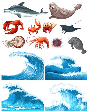 white wave: Ocean waves and sea animals  illustration