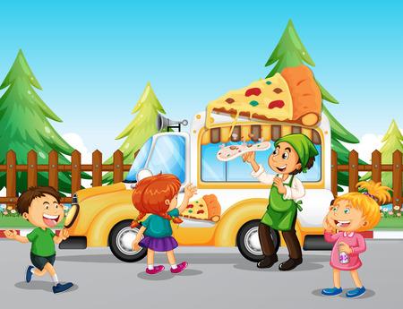 line up: Children line up at pizza truck illustration