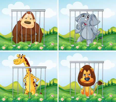 lock up: Wild animals in cage illustration
