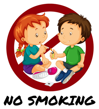 adolescent boy: No smoking sign with two kids smoking illustration Illustration