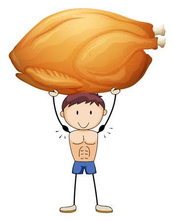roasted turkey: Man lifting up roasted turkey illustration