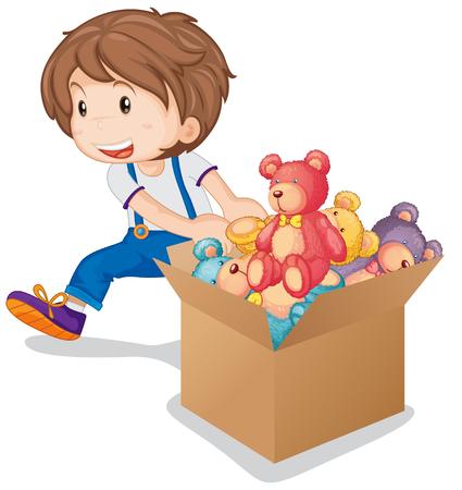 stuffed: Little boy pulling box of teddy bears illustration Illustration