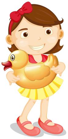 adolescent girl: Little girl carrying yellow duck illustration Illustration