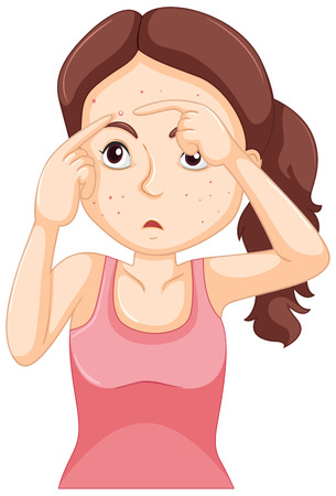 puberty: Teenager girl squeezing zit illustration