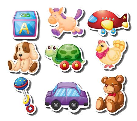 juguete: pegatinas de juguete en el fondo blanco ilustración Vectores