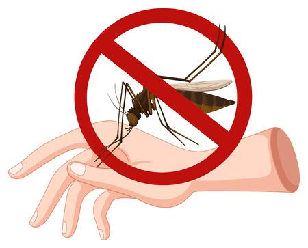dengue fever: Mosquito biting on hand illustration