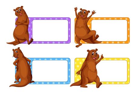 beavers: Label design with beavers illustration Illustration