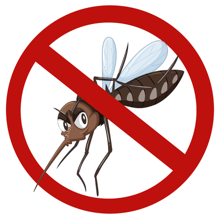 a disease carrier: No mosquito sign on white illustration