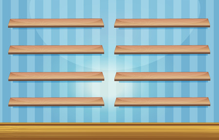 plywood: Room with wooden shelves and floor illustration Illustration
