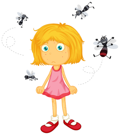 biting: Mosquitos biting little girl illustration