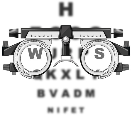 medical exam: Eyesight test glasses and reading boards illustration Illustration