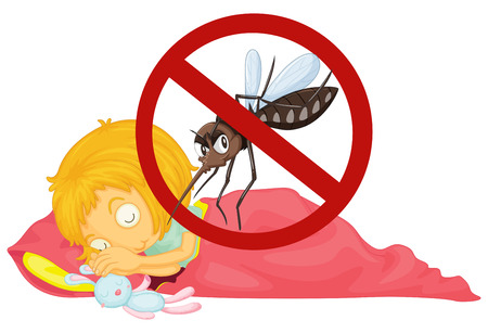 no mosquito: No mosquito while girl sleeping illustration