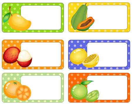 rambutan: Square labels with tropical fruits illustration
