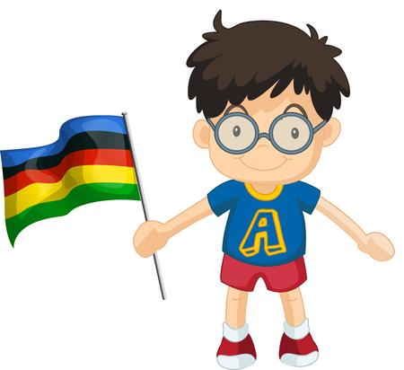 sport event: Boy carrying flag for sport event illustration Illustration