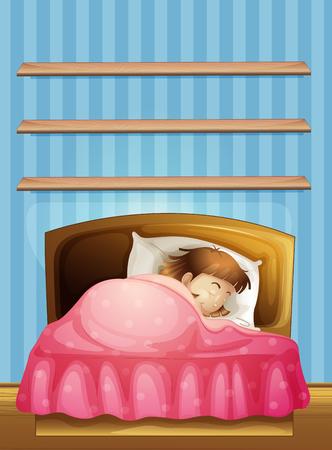Dormir en la cama de la niña ilustración