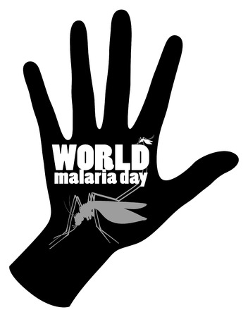 disease carrier: World malaria day poster with mosquito and hand illustration