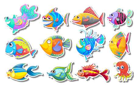 exotic fish: Sticker set with fancy fish illustration