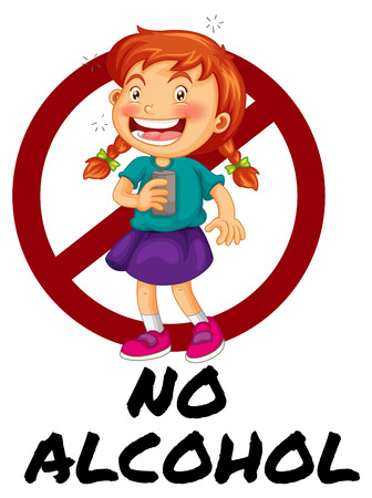 no alcohol: No alcohol sign with girl drinking illustration Illustration