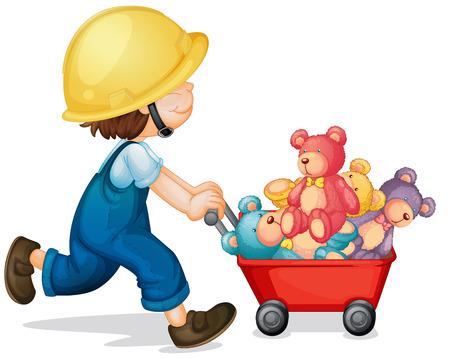 pushing: Boy pushing cart full of teddy bears illustration