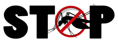 stop mosquito: Stop sign for mosquito illustration