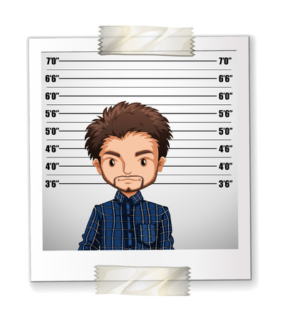 height: Man taking photo with height illustration Illustration
