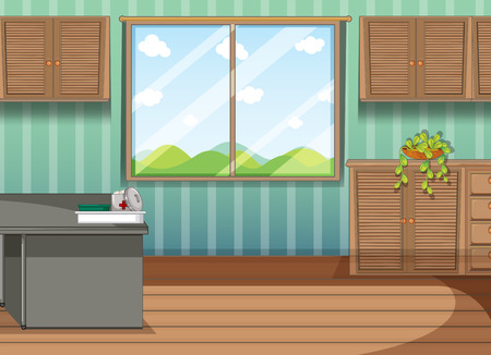 cartoon window: Firstaid tray in the room illustration